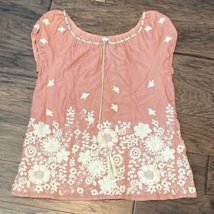 Medium Blue Tassel Pink Embroidered Peasant Top